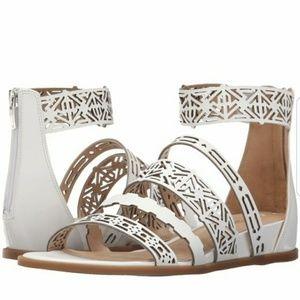 Via Spiga Cutout White Leather Wedge Sandals